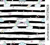cute hand drawn unicorn vector...   Shutterstock .eps vector #754729828
