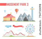 set of amusement park elements  ... | Shutterstock .eps vector #754733098