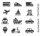 vehicles and transportation... | Shutterstock .eps vector #754734142