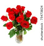 Roses Bouquet Isolated On Whit...