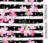 blooming spring flowers pattern ... | Shutterstock .eps vector #754740115