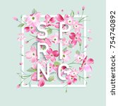 floral spring graphic design... | Shutterstock .eps vector #754740892