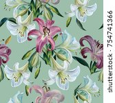 seamless floral pattern.... | Shutterstock . vector #754741366