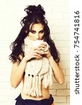 pretty cute sexy girl or... | Shutterstock . vector #754741816