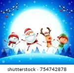 merry christmas  happy... | Shutterstock .eps vector #754742878