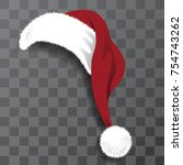 cartoon santa claus hat with... | Shutterstock .eps vector #754743262
