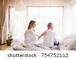 health visitor and a senior man ... | Shutterstock . vector #754752112