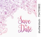 save the date card square... | Shutterstock .eps vector #754755802