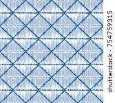 sashiko seamless indigo dye... | Shutterstock .eps vector #754759315