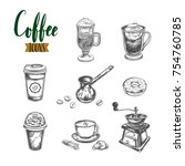 coffee sketch icons set.... | Shutterstock .eps vector #754760785