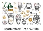 coffee and coffee to go set.... | Shutterstock .eps vector #754760788