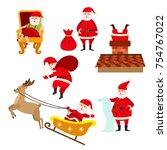 santa doing various christmas... | Shutterstock .eps vector #754767022