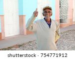 happy cuban shows thumb up | Shutterstock . vector #754771912