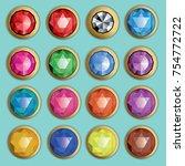 gems isolated on white...   Shutterstock .eps vector #754772722