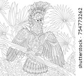 coloring page of australian... | Shutterstock .eps vector #754773262