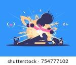fitness girl training. sports... | Shutterstock .eps vector #754777102