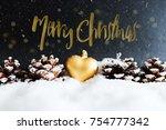 snowy winter christmas greeting ... | Shutterstock . vector #754777342