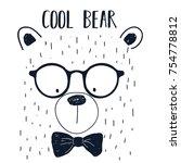 cool bear slogan and bear face... | Shutterstock .eps vector #754778812