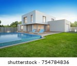 luxury house with swimming pool ... | Shutterstock . vector #754784836