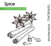 vintage hand drawn star anise ...   Shutterstock .eps vector #754785652