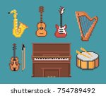 set of various pixel music... | Shutterstock .eps vector #754789492