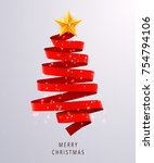 christmas tree made of red... | Shutterstock .eps vector #754794106