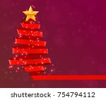 christmas tree made of red... | Shutterstock .eps vector #754794112