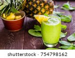 pineapple green smoothie with... | Shutterstock . vector #754798162