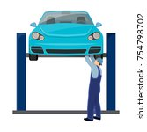 car on the lift single icon in... | Shutterstock .eps vector #754798702