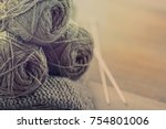 knitted from a gray yarn... | Shutterstock . vector #754801006