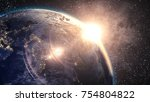 blue planet earth and golden...   Shutterstock . vector #754804822