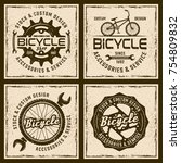 bicycle shop and service four... | Shutterstock .eps vector #754809832