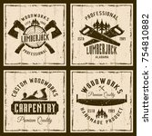woodworks and carpentry four... | Shutterstock .eps vector #754810882