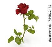 single beautiful red rose... | Shutterstock . vector #754812472