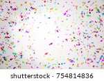 colourful sparlking confetti on ... | Shutterstock . vector #754814836