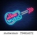 live music neon sign vector ... | Shutterstock .eps vector #754816372