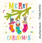christmas greeting vector... | Shutterstock .eps vector #754819492