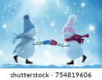 merry christmas and happy new... | Shutterstock . vector #754819606