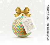 ornate christmas ball with... | Shutterstock .eps vector #754822582