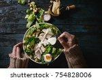 female hands powring dressing... | Shutterstock . vector #754828006