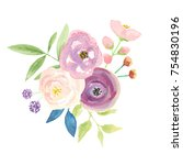 watercolor flower bouquet pink... | Shutterstock . vector #754830196