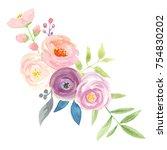 watercolor flower bouquet pink... | Shutterstock . vector #754830202