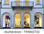 versace boutique in milan on... | Shutterstock . vector #754832722