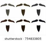 set long  beard and mustache... | Shutterstock .eps vector #754833805