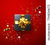 black gift box with shiny... | Shutterstock .eps vector #754834672