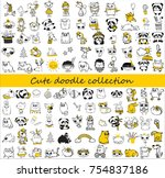 cute doodle collection. simple... | Shutterstock .eps vector #754837186