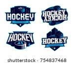 modern professional hockey logo ...   Shutterstock .eps vector #754837468