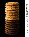 pattern of oatmeal cookies...   Shutterstock . vector #754837522