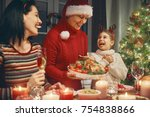 merry christmas  happy family... | Shutterstock . vector #754838866