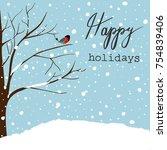winter landscape scene.... | Shutterstock .eps vector #754839406